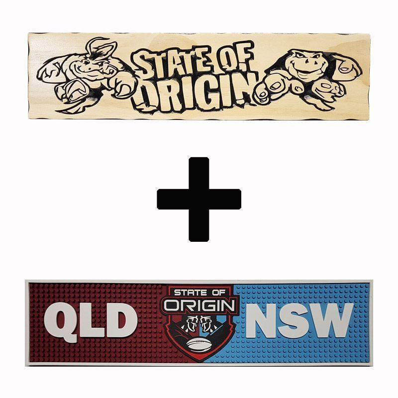State Of Origin Timber Sign+Bar Mat - Combo Pack